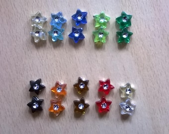 LOT X 20 PEARLS SHAPE WITH RHINESTONE STARS