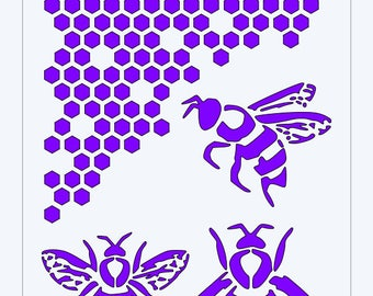 Bee and Honeycomb Stencil (N002)
