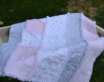 Pretty in Pink - Baby Blanket - Rag Quilt
