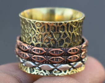 Ethnic texture spinner ring | 3 tone tribal prayer rings | Spinning band ring | Indian fusion jewelry ring | Festive gift jewelry ring |R241