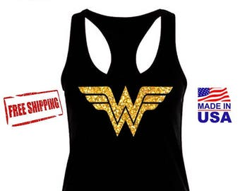 Wonder Woman Movie Inspired Shirt, Wonder Woman Black Tank Top, Wonder Woman Marathon with Gold Glitter Emblem. Costume, Women's Tank.
