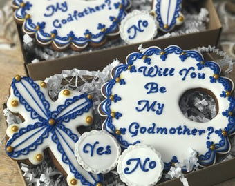 Will you be my Godmother / Godfather cookies -Baptism cookies, Confirmation cookies, Christening cookies