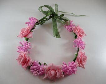 Flower Crown, headband, wedding, pink color.