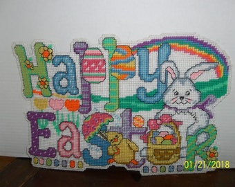 handmade plastic canvas happy easter wall hanging decor cute!