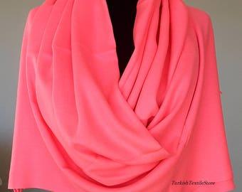Neon Pink Pashmina Scarf Pink Shawl Pink Wrap Pink Scarf Bridesmaids Gift Pink Wedding Shawl Bridesmaid Pink
