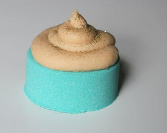 Buttercream Cupcake Bath Bomb with Coconut and Cocoa Butter Bubble Frosting - 4.5 oz - Moisturizing Bath Fizzy