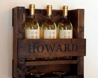 Personalized Wine Rack, Wood Wine Rack, Wine Rack,  Rustic Wine Rack, Small Wine Rack, Wedding Gift, Anniversary Gift, Housewarming Gift,