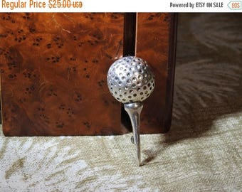 ON SALE stunning vintage sterling silver golf ball and tee brooch