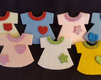 1 set of clothes felt refrigerator magnets