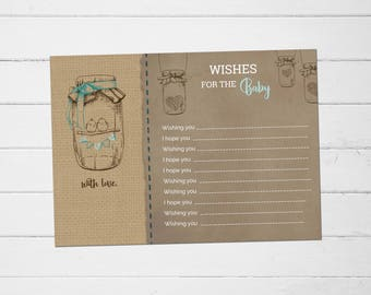 Mason Jar Wishes for Baby Baby Shower Card, Wishes for Baby Baby Shower, Baby Shower Wishes for Baby, Well Wishes for Baby, Instant Download