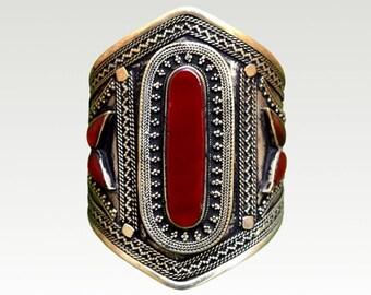 Carnelian bracelet cuff Boho gemstone silver bangle Bohemian tribal red stone jewelry Statement wrist bracelets for women Hippie gypsy