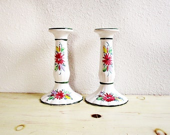 White Candle Stick Holders, Vintage Candle Holders, Jay Willfred,Vintage Decor, Hand Painted, Table Decor, Vintage Decor