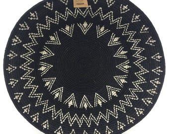 Zienzele Basket / Handmade Woven Plate / 16 inch / Zimbabwe Plate / Black White Pattern / Ethnic decor / Wall hanging
