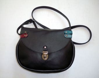 with braided black leather bag