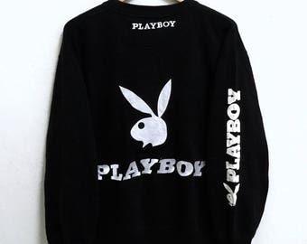 RARE!!! Playboy Big Bunny Embroidery Crew Neck Black Colour Sweatshirts Hip Hop Swag LL FIT L Size