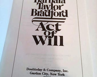 Act of Will by Barbara Taylor Bradford/ Hardcover 1st Edition/ Romance