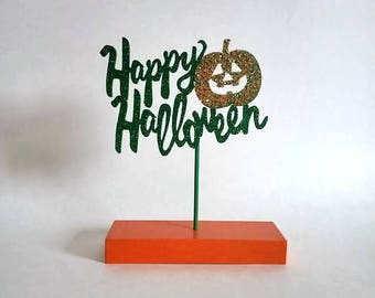 Happy Halloween Table Top Sign  Festive Wooden Decor