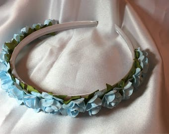 Light blue Bridesmaid hair band, hair accessories, Bridal Hair piece, Headband, Bridal, Wedding, flower girl, First Communion, Alice Band