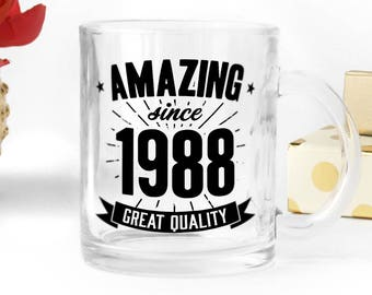 Birthday clear glass mug, great present for 30th birthday