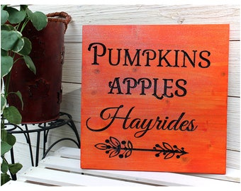 SALE!! FREE SHIPPING! Pumpkins Apples Hayrides Sign, Fall Wood Signs, Fall Decor, Rustic, Thanksgiving Signs, Also Comes In A Set of Three!