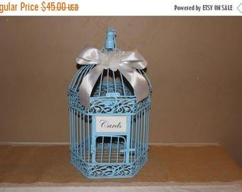ON SALE Alice in Wonderland Birdcage Cardholder / Blue Wedding Birdcage / Wedding Cardholder