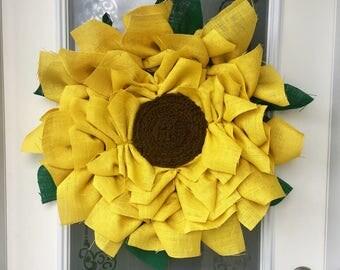 Burlap Sunflower Wreath // Spring Wreath // Fall Wreath // Front Door Decor