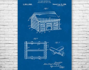 Lincoln Logs Toy Cabin Poster Patent Art Print Gift FREE SHIPPING, Lincoln Logs Poster, Lincoln Logs Art, Lincoln Log Wall Art, Patent Print