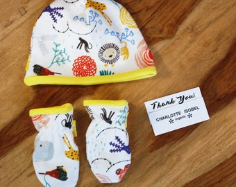 Elephant Baby Gift Set New Parents Gift Jungle Newborn Hat and Mittens Baby Shower Gift