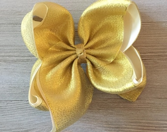 Gold Hair Bow, Girl hair bows, XL Gold Hair Bow,  Jumbo Gold Hair Bow, Large Gold Hair Bow, Ready to Ship!