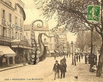 Postcard: kraken invading old french town