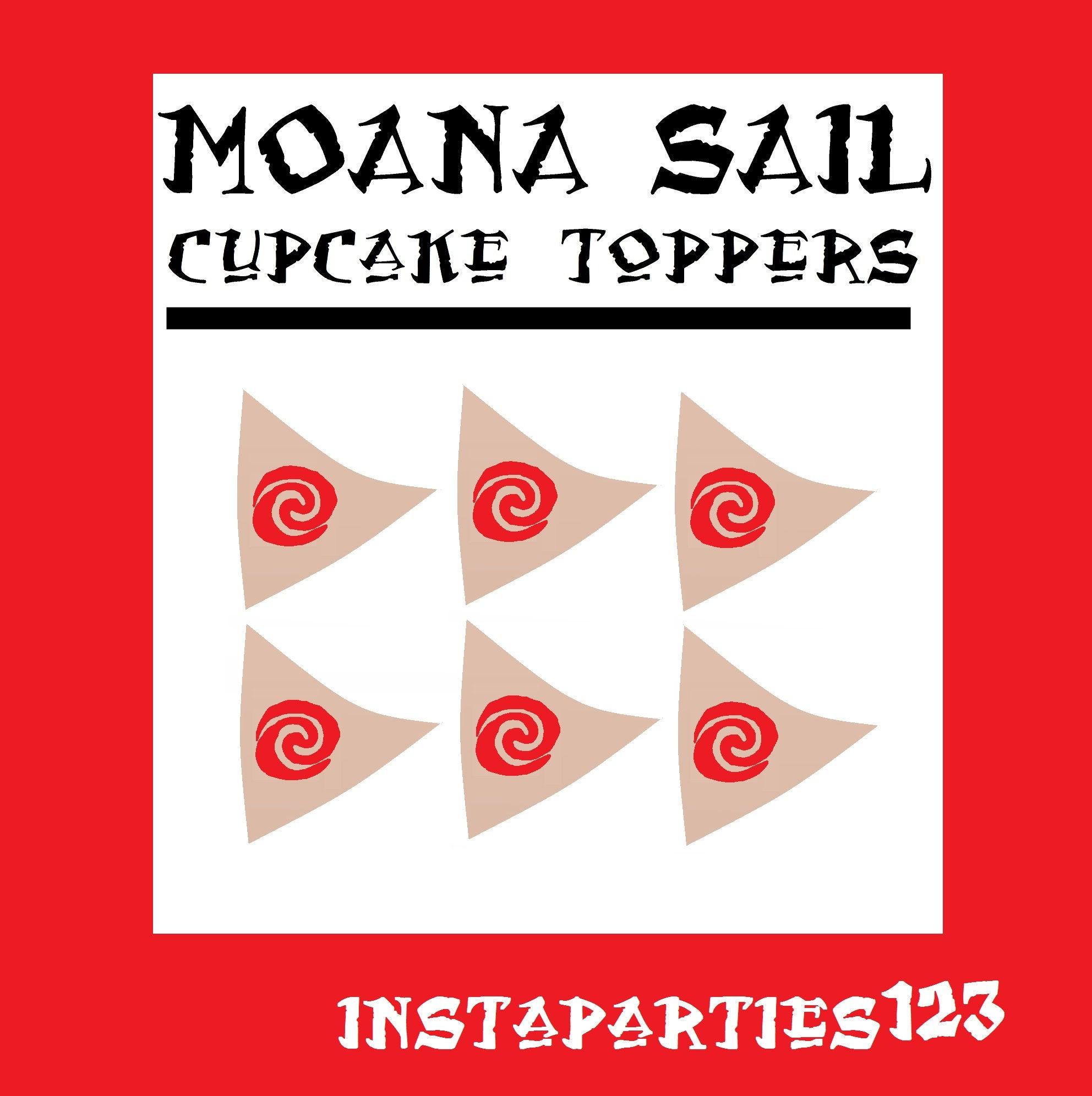 Digital Red Swirl On Brown Sail Moana Sailboat Cup Cake