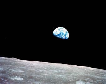 Earth Rise from Apollo 8 - 5X7, 8X10 or 11X14 NASA Photo (AB-137)