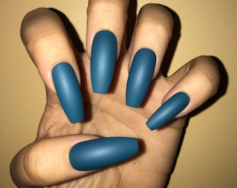 Mystic Blue Acrylic Nails