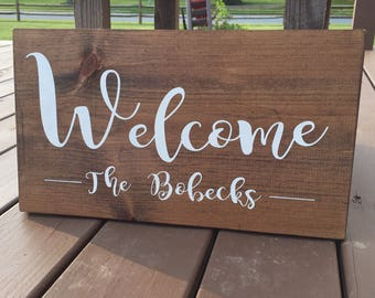 Wooden Custom Sign, Personalized Wood Sign, Wood Welcome Sign, Welcome door sign, Custom Wedding Gift, Last Name Sign, Family Sign