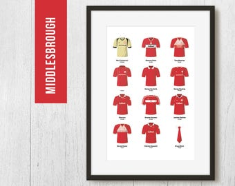 PERSONALISED Middlesbrough Print, Football Poster, Football Gift, FREE UK Delivery