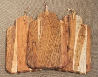Price Tag Shaped Solid Acacia Wood Board Placemat Chopping Board Food Tray Server 24cm x 40cm x 1cm ACA-PLACE