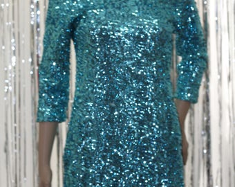 Green Sequined 90's  Kami Shade Dress (M)