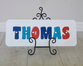 Name Puzzle, Wooden puzzles, Name sign, Personalised toy, Wooden puzzle - Aqua, Red and Navy
