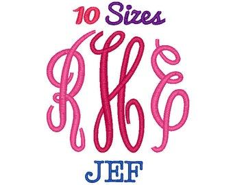 Fancy Monogram Font Embroidery Font Machine Embroidery Fonts JEF Format File Pack Set 10 Sizes Digital Design Instant Download