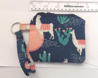 Wristlet keychain Custom makeup bag zipper custom bag cosmetic bag pouch  - llama & cactus zippered pouch