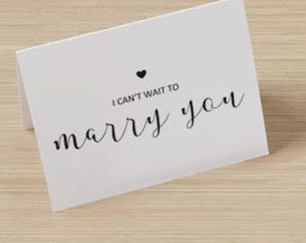 Can't Wait To Marry You Card - Wedding, Bride, Groom, Notecard