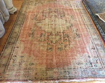 Turkish rug vintage 5.9 x 8.2 very rare antique rug