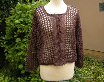 Linen sweater with braid, Brown, sweater, brown, size 38-42