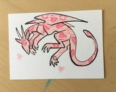 Laundry Dragon (Pink Hearts) - Original Art