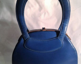 1950s Blue HandBag / Purse / Doubled Handles / Fantastic 1950s Bag.