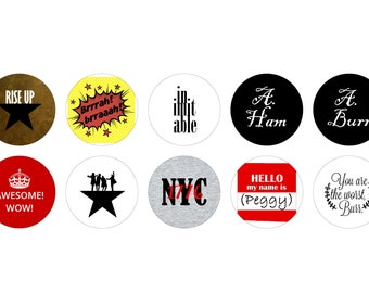 """Hamilton 1"""" Pinback Buttons - inspired by the Broadway musical"""