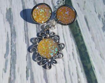Dorne Faux Druzy Gems Jewelry, Yellow Druzy Gems, Birthstone Jewelry, Citrine, Book Jewelry, Fantasy Jewelry, Druzy Earrings, Druzy Pendant
