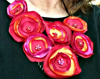 Silk floral necklace silk flowers bib 7 red flowers jewelry asymmetrical high fashion boho 100% hand made adjustable length