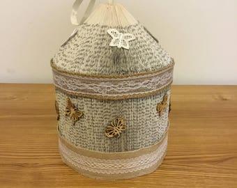 Handmade folded book birdcage, butterfly design