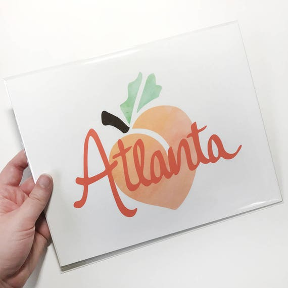 Atlanta Peach Giclée Art Print - 8x10 - Watercolor Paper